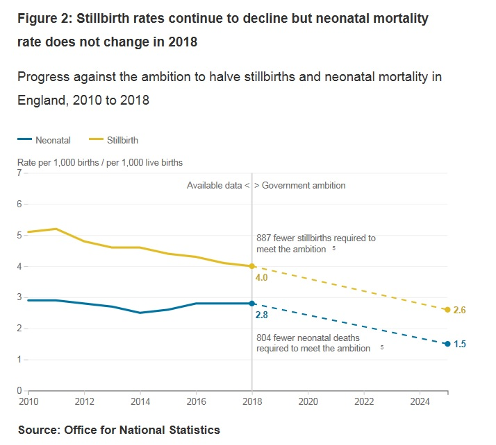 Line graph showing stillbirth rates continue to decline but neonatal mortality rate does not change in 2018