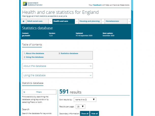 Screenshot of the Health statistics tool