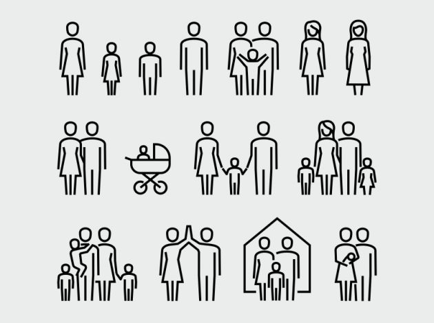 Image shows different types of families in illustrated form