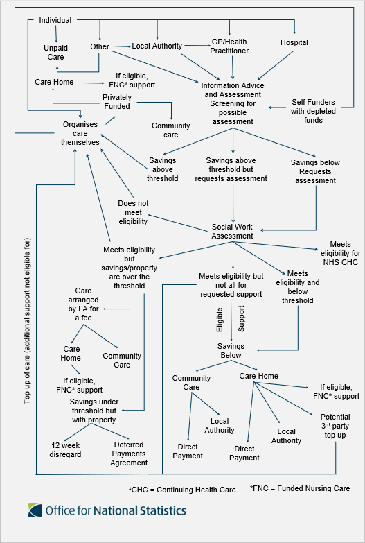Process flow chart outlining the different pathways to care