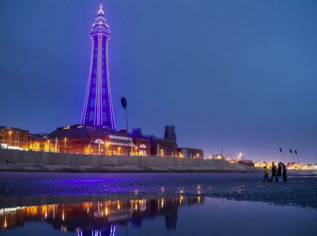 Blackpool Tower lit up in purple