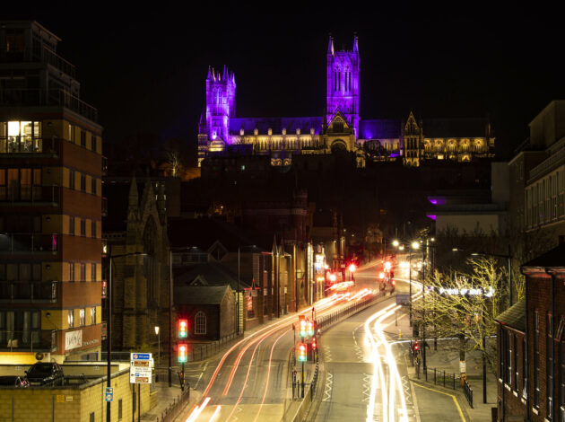 Lincoln Cathedral lit up purple during the census